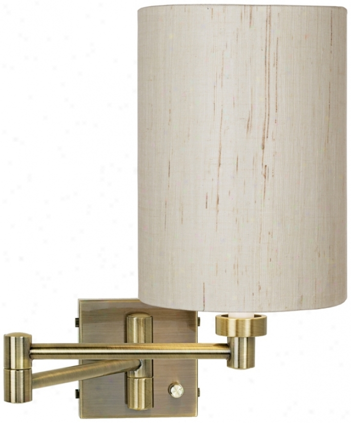 Antique Brass With Ivory Linen Shade Plug-in Swing Arm Wall Lamp (37857-00184)