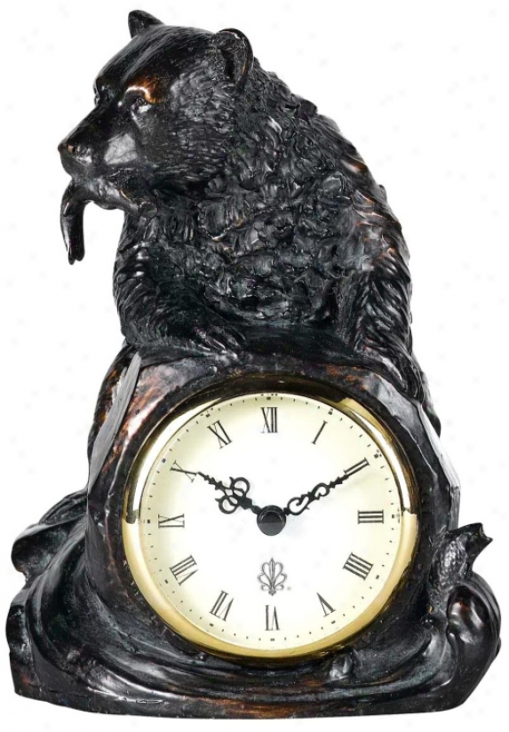 "Antique Bronze Bear With Fish 6 1/2"" Wide Tabletop Clock (g8944)"