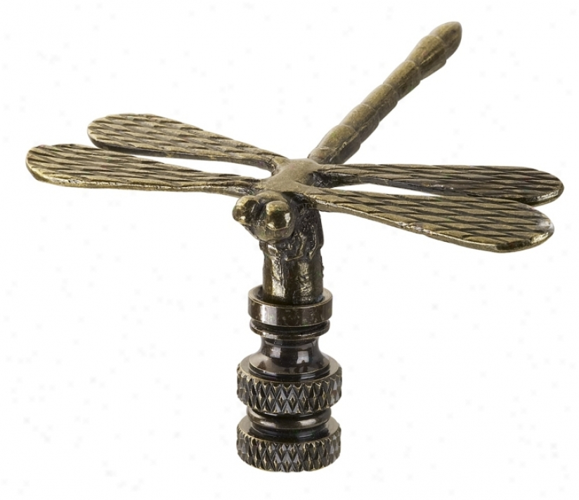 Antique Bronze Finish Dragonfly Lamp Shade Finial (38329)