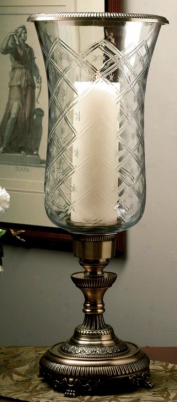 Antique Bronze Fibish Hurricane Glass Candle Holder (j5398)