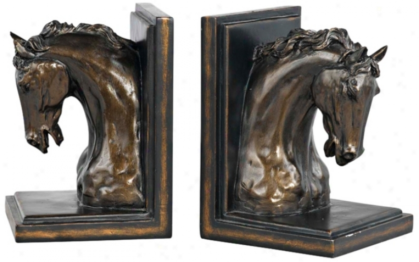 Antique Alloy of copper Horse Bookends g(8891)