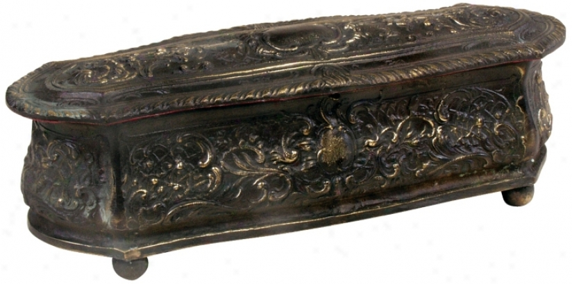 Antique Bronze Jewelry Box (j3603)