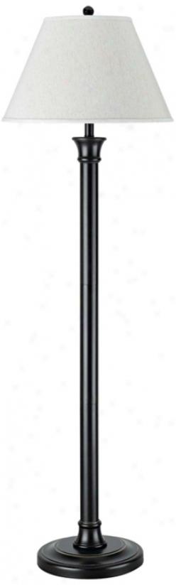 Antique Bronze With Hardback Linen Shade Floor Lamp (g9986)