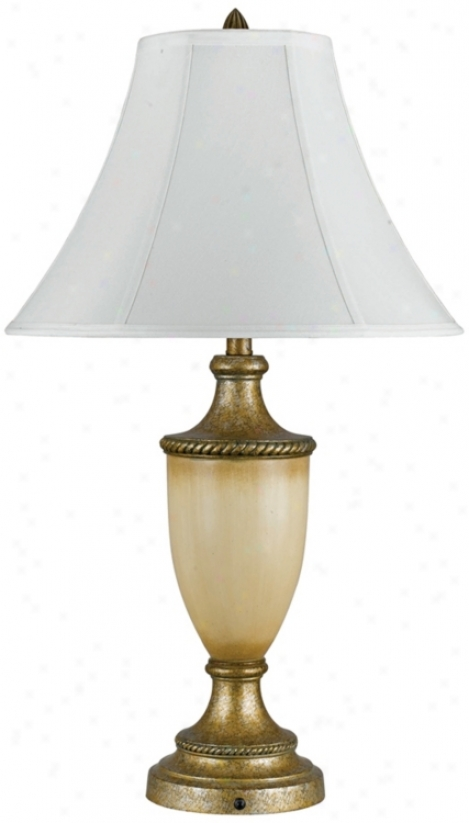 Antique Gold And Ivory Urn Twble Lamp (h7246)