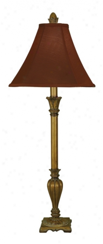 Antique Gold Finished Red Faux Silk Buffef Lamp (j1249)
