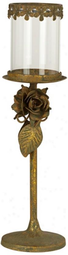 "Antique Gold Flowers 13 3/4"" High Votive Taper Holder (t8972)"