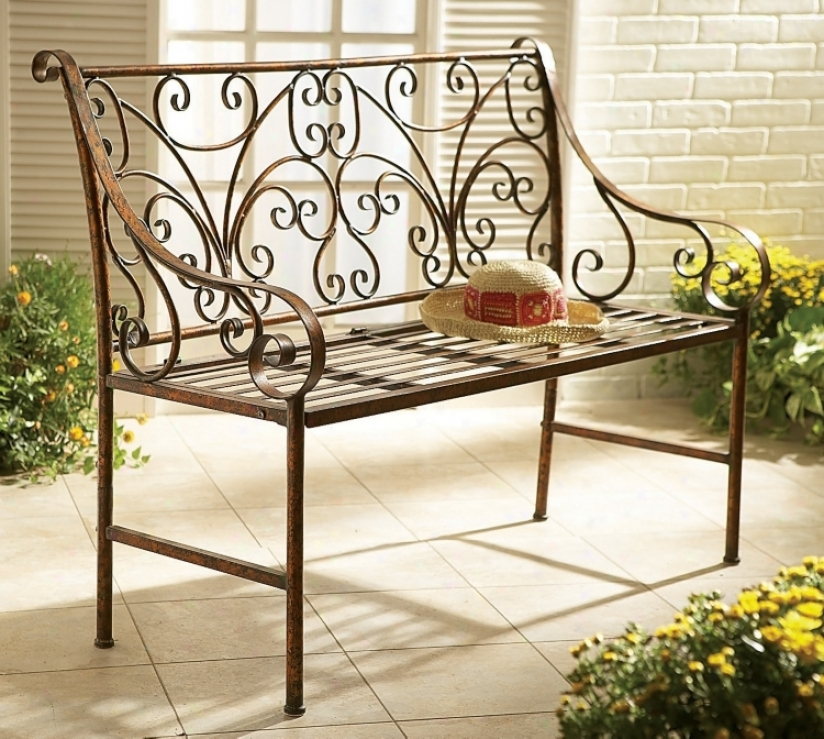 Antique Gold Iron Scroll Garden Long seat (p5916)