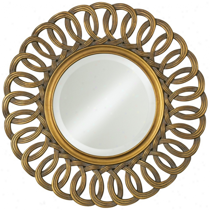 Antique Gold Linked Loops 30&quot; Elevated Round Wall Mirror (n5824)