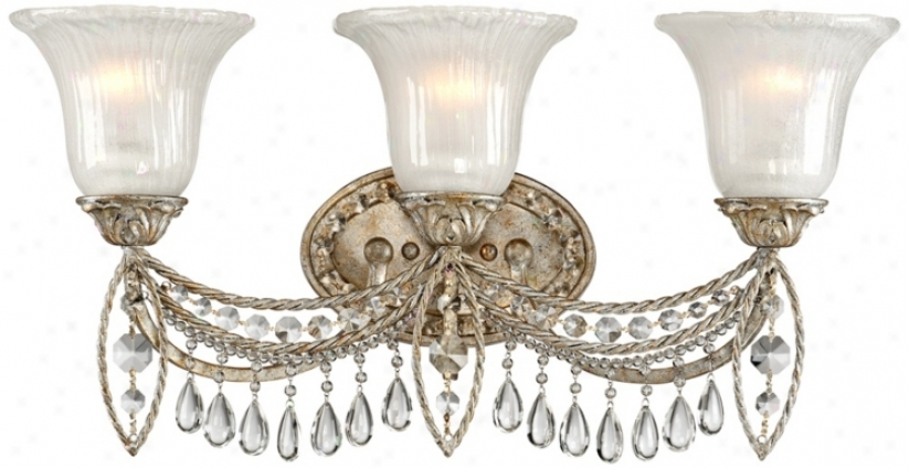 "Antique Silver And Crystal 3-light 23"" Wise Bath Fixture (v2445)"