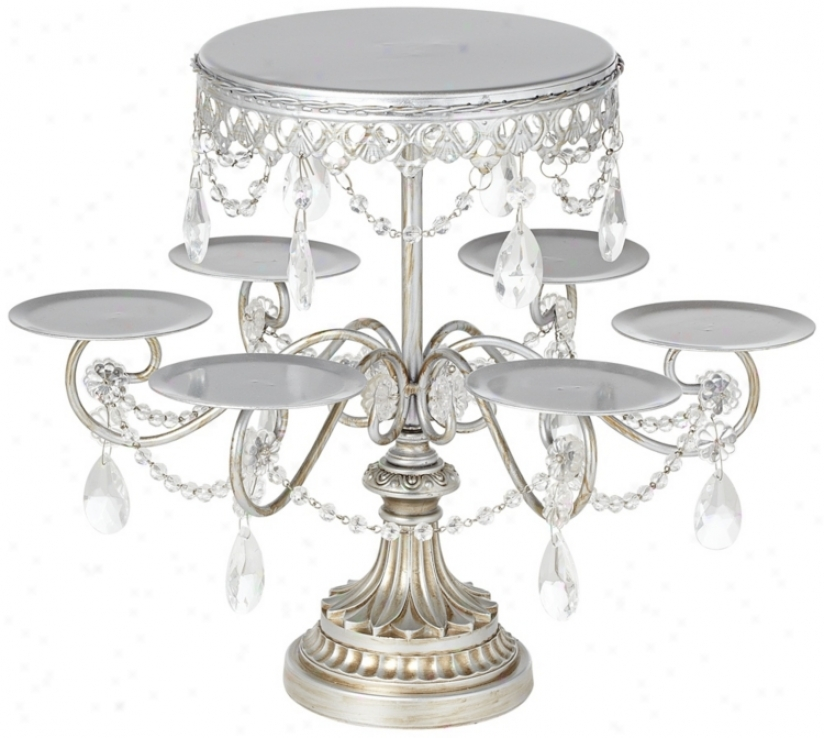Antiqque Silver And Crystal Cake And Cupcake Stand (v4924)
