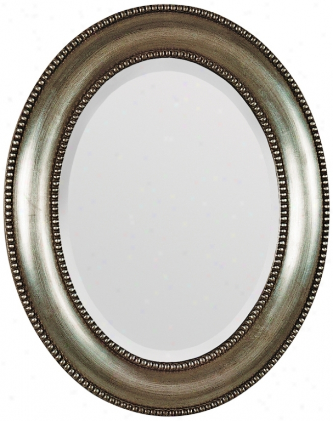 "Antique Silver Beaded Trim Oval 31"" High Wall Mirror (m3559)"