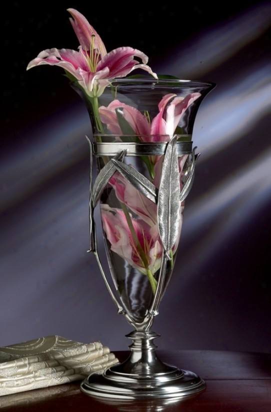 Antique Silver Floating Leaf Glass Vase (h8006)