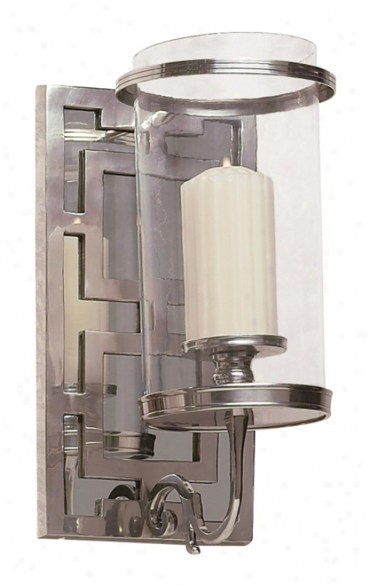 Antique Silver Mirrored Hurricane Glass One Light Sconce (k0946)