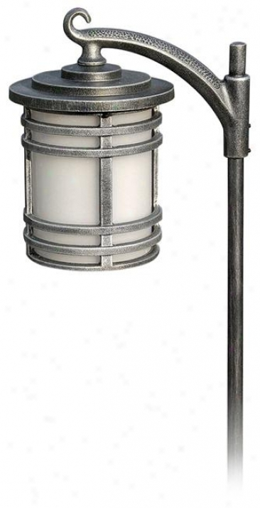 "Antique Silver Mission Lantern 25 1/2"" High Path Light (m0347)"