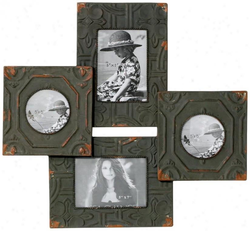 "Antique Tiles 21 1/2"" High Four Photo Frames Wall Decor (n7216)"