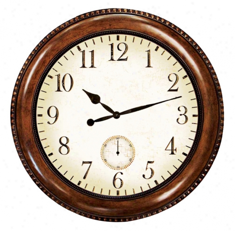"Antique Walnut Finish 22"" Wide Wall Clock (g8786)"