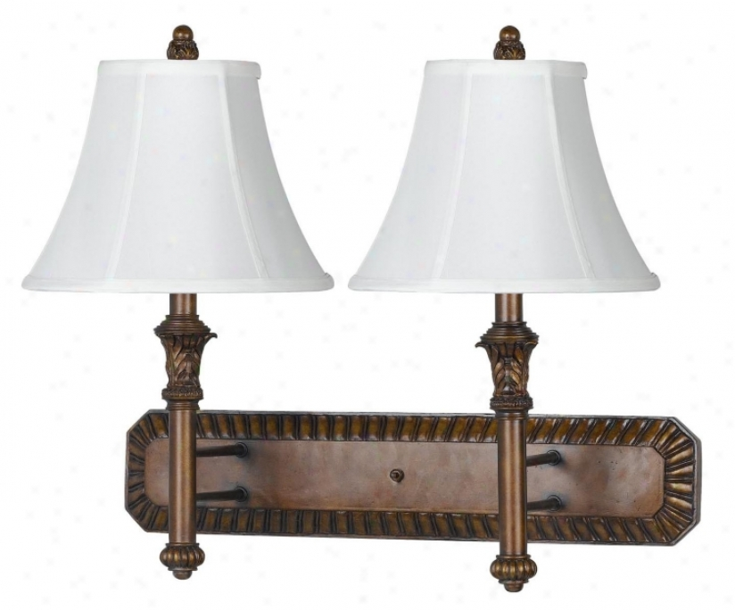 Anttique Walnut Finish Bell Shade Plug-in Double Wall Lamp (g9376)