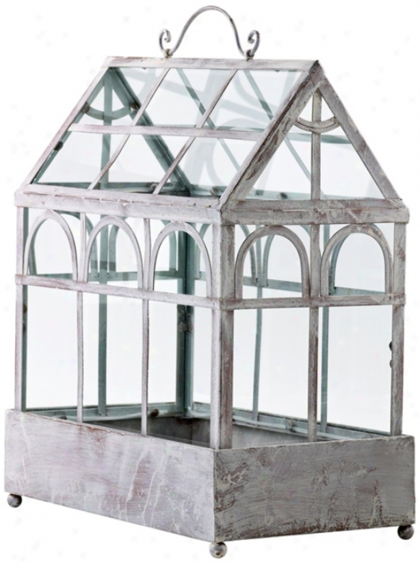 Antique White Iron And Glass Terrarium (v0918)