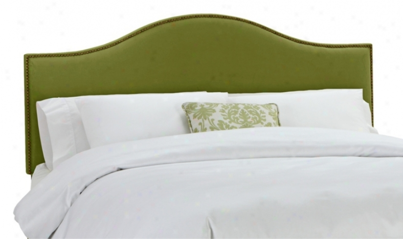 Apple Green Velvet Nail Button Headboard (queen) (v7244)