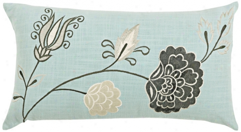 "Aqua 21"" Wide Decorative Pillow With Hidden Zipper (v8963)"