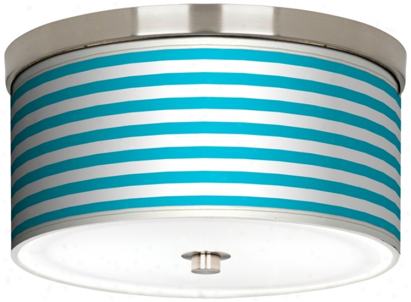 "Aqua Horizontal Stripe Nickel 10 1/4"" Spacious Ceiling Light (j9214-k1622)"