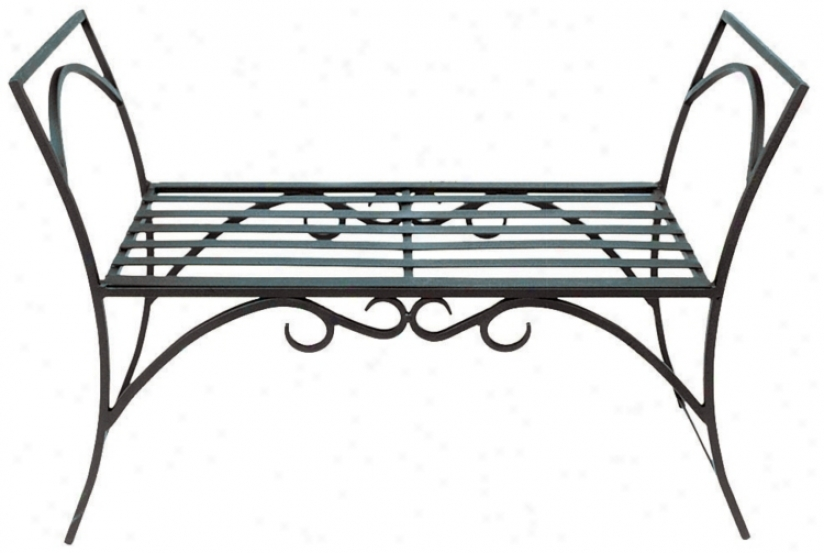 Arbor Black Metal Outdoor Bench (m7907)