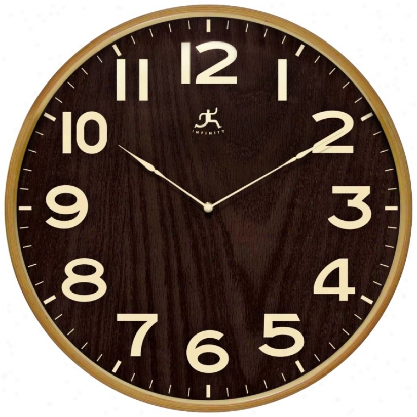 "Arbor Ii 21"" Round Dark Wood Wall Clock (w0992)"