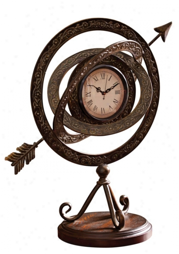 "Armillary 19 3/4"" High Tabletop Clock (u7480)"