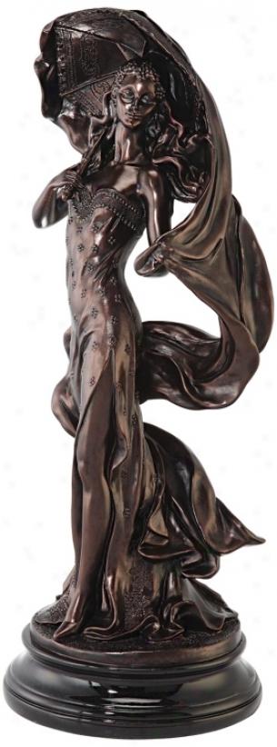 Art Deco LadyW ith Parasol Sculpture (m0726)
