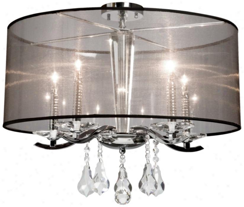 """Artcraft Contessa 4-light 15"""" Wide Chrome Ceiling Light (v9112)"""
