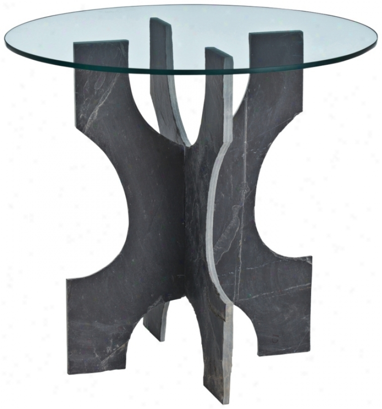 Arteriors Home Nasher Slate Glass Round End Table (u2270)