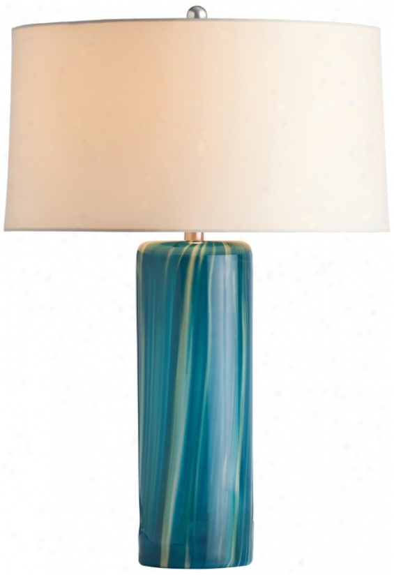 Arteriors Home Talia Aquamarine Wavy Striped Table Lamp (v5707)