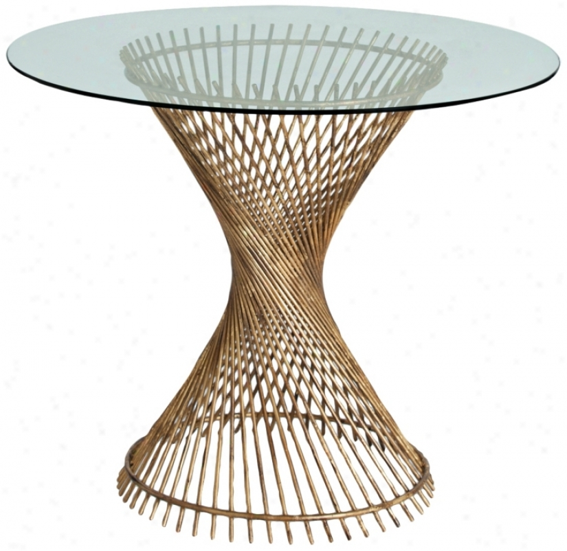 Artediors Pasal Twisted Gold Leaf Iron/glass Entry Table (u2296)