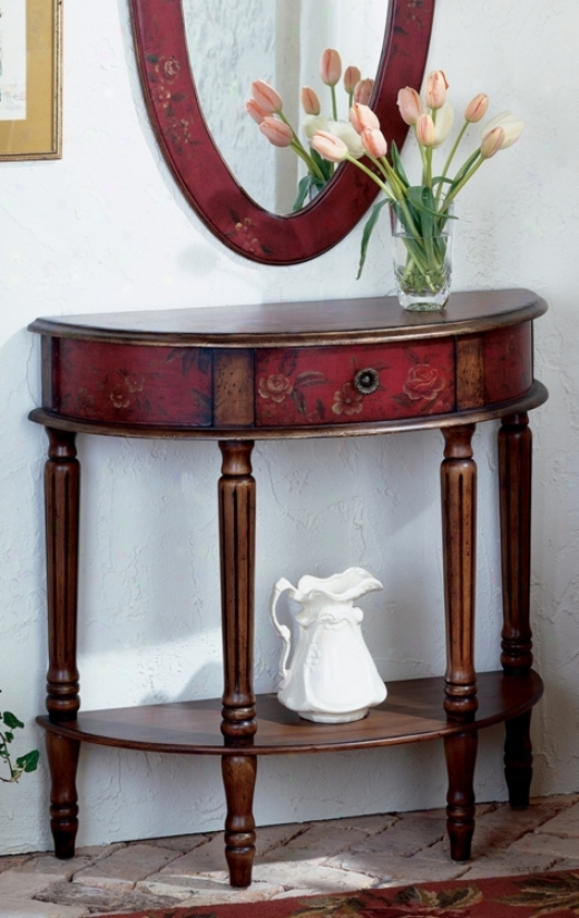 Artists Originals Collection Mahogany Demilune Console Table (m3940)