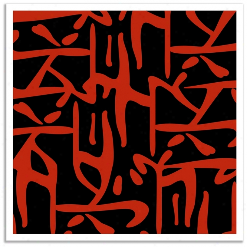 """Asian Flair Accent 36"""" Square Giclee Wall Art Posterr (p3750)"""