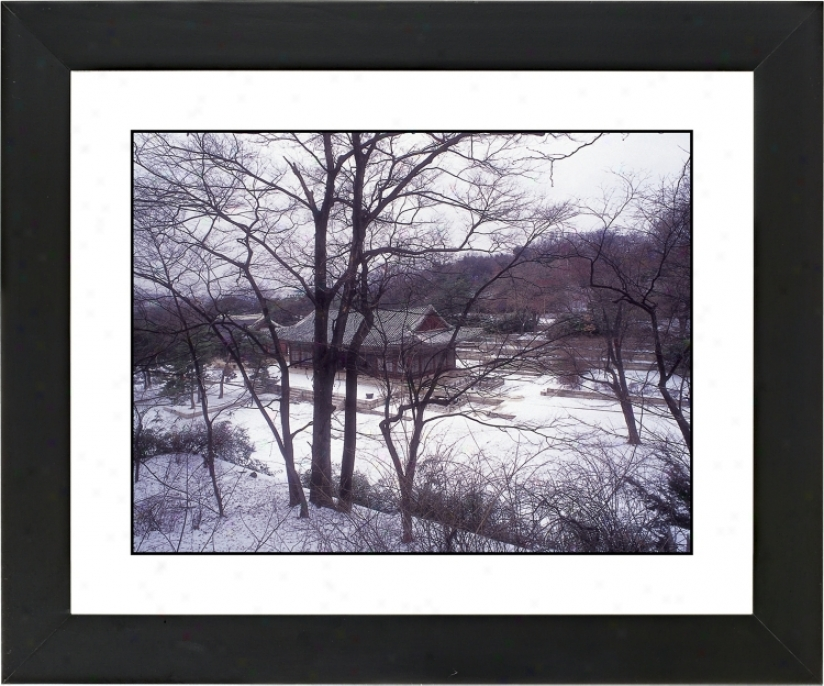 "Asian House In Winter Black Frame 23 1/4"" Wide Wall Art (f0459-17976)"