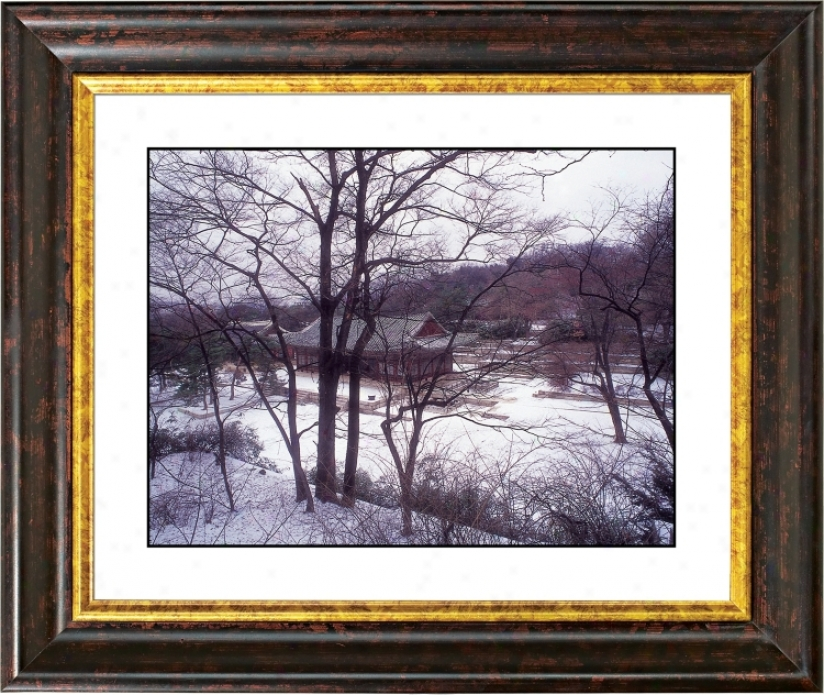 Asian Shelter In Winter Small change Bronze Frame Giclee Wall Art (f0259-18014)