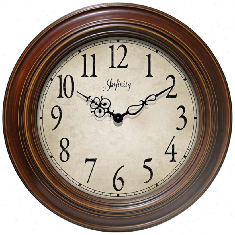 "Athenium 24"" Round Antiqued Chcolate Framed Wall Clock (e1005)"