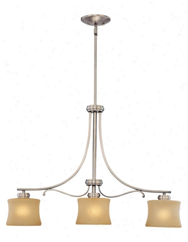 Aube Collection Brushed Pewter 3-light Island Chandelier (05279)