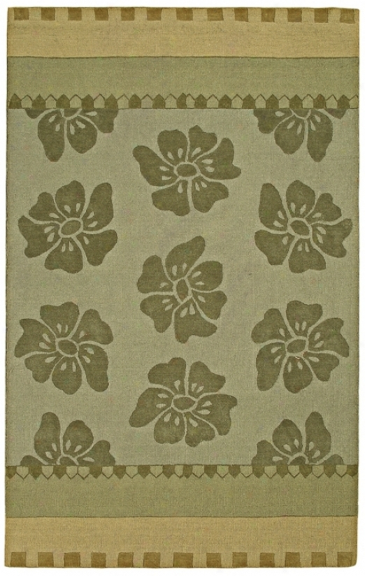 "Auckland Collection Sage Floral Wool 2'6""x8' Runner (k8155)"