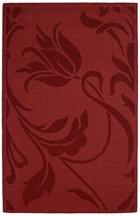 Auxkland Collection Wild Tulip Red Wool 2'x3' Area Rug (k7685)