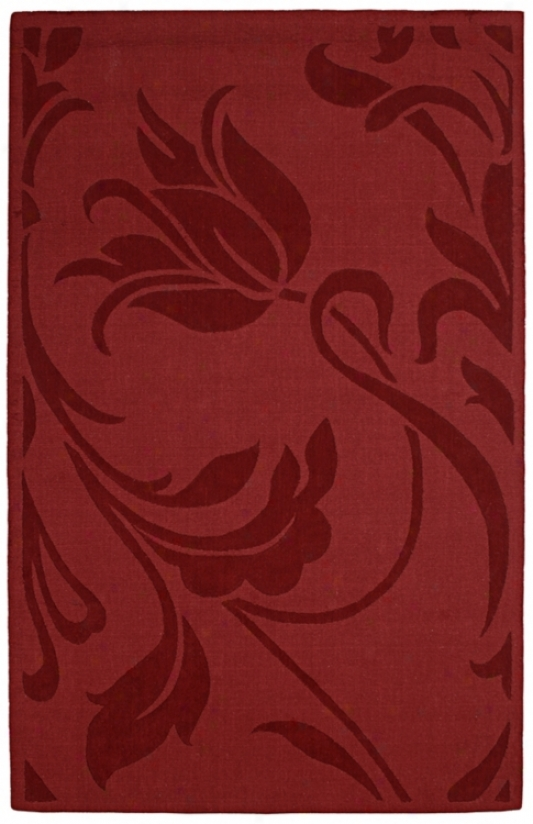 Auckland Collection Uncultivated Tulip Red Wool 8'x10' Area Rug (k7687)