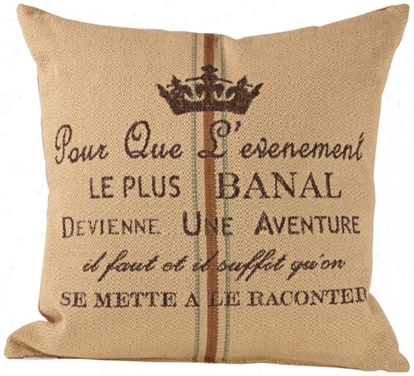 "Aventur eTan Down 20"" Square Throw Pillow (u1385)"