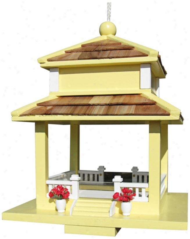 Backyard Bird Cottage Yellow Gazebo Bird Feeder (t3229)