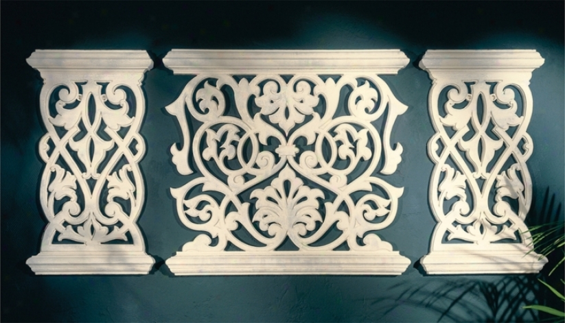 Balcony Grille Set Of 3 Wall Art Panels (m0258)