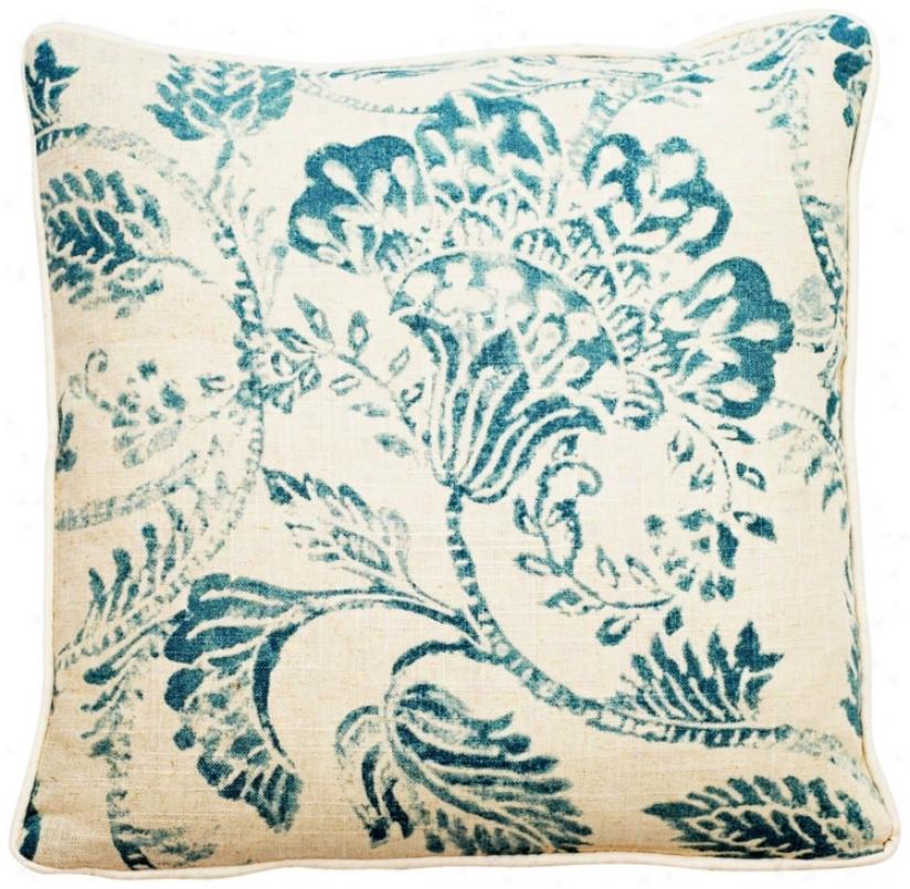 """Bali Antique Blue 22"""" Square Linen Throw Pillow (t6127)"""