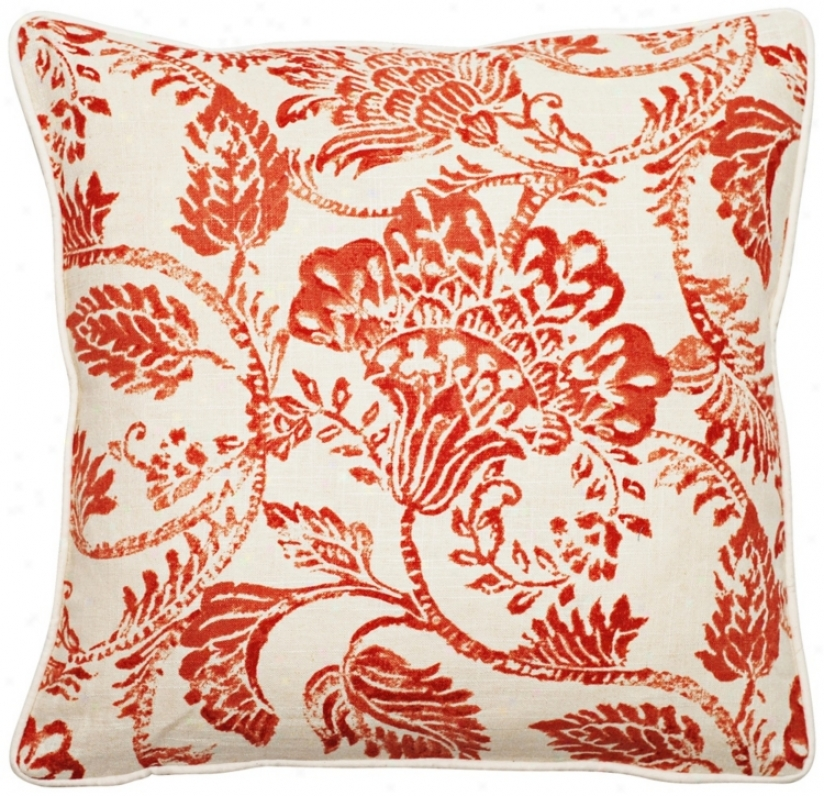 """Bali Antique Red 18"""" Square Linen Throw Pillow (t6132)"""