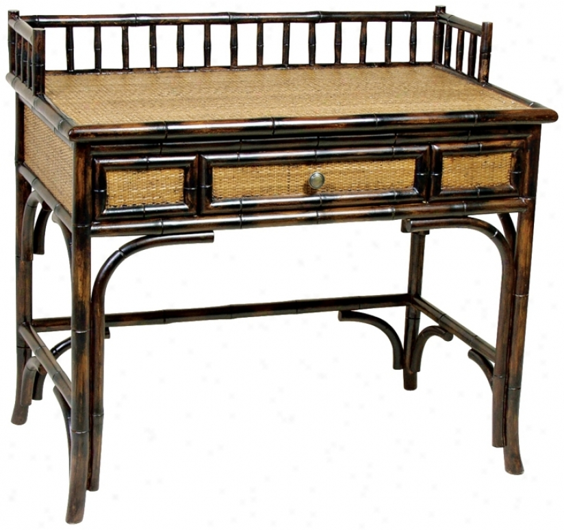 Bamboo And Rattan Writing Desk (j8563)