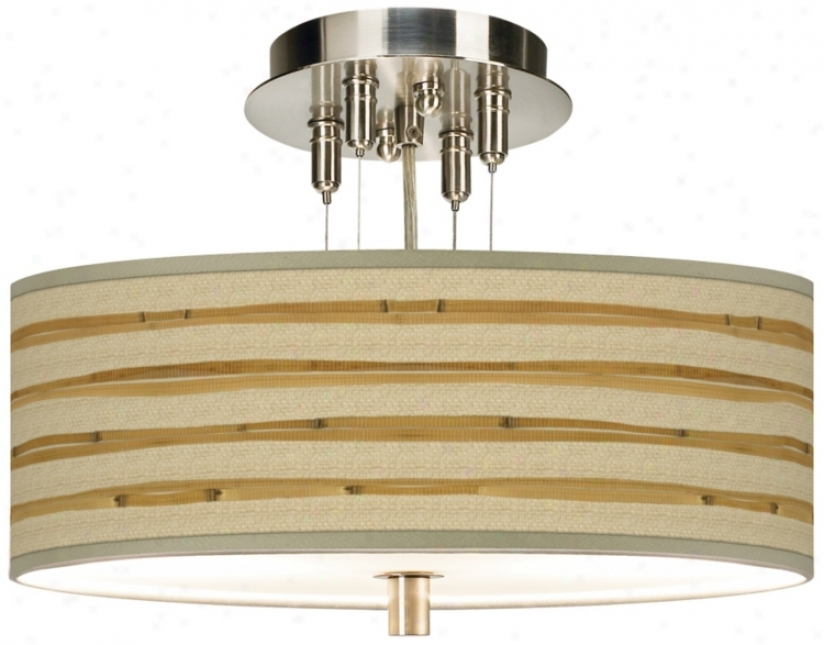 "Bamboo Wrap 14"" Wide Semi-flushmount Ceiling Light (55369-v3135)"