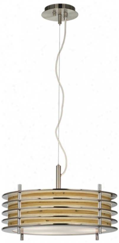 Bamboo Wrap Giclee Glow Louvered Pendant Light (t6321-v3186)